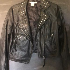 Silver studded motorcycle jacket
